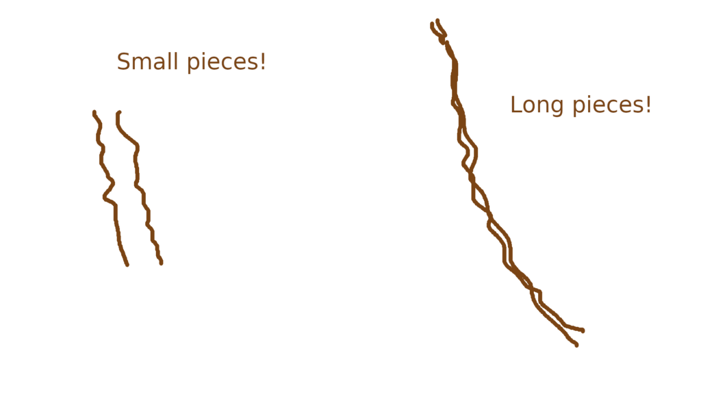 A diagram of the short pieces and long pieces required to make hair wefts for the small amigurumi pattern